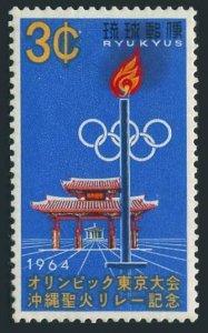 RyuKyu 124 block/4,MNH.Michel 153. Olympics Tokyo-1964.Torch,Gate of Courtesy.