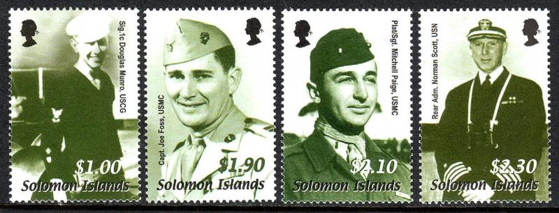 Solomon Islands 948-951, MNH.Battle of Guadalcanal, 60th ann. US Servicemen,2002