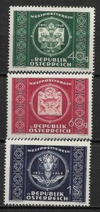1949 Austria 565-7 UPU 75th Anniversary C/S of 3 MLH