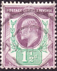 GREAT BRITAIN 1902 KEDVII 1.5d Dull Purple & Green SG221 Used