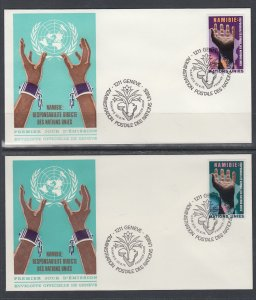 UN Geneva 53-54 Human Geneva U/A Set of Two FDC
