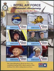 GRENADA 2017 CENTENNIAL OF THE ROYAL AIRFFORCE PRINCES HARRY & WILLIAM  SHEET NH