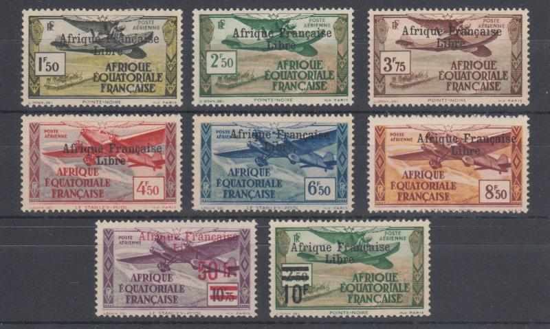 French Equatorial Africa Sc C9-C16 MLH. 1940-41 2-line black ovpts on Air Post