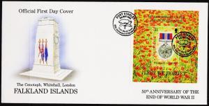 Falkland Islands. 1995 FDC £1 Miniature Sheet. S.G.MS741  Fine Used