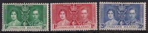Falkland Islands 1937 KGV1 Set Coronation stamps MM SG 143 - 145 ( D1286 )