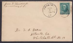 US Sc 258 on 1896 Cover, Armstrong, SC-Atlanta, GA