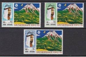 Abu Dhabi # 68-70, Sheik Zaid, Expo 70, Mt. Fuji, Hinged 1/3 Cat.