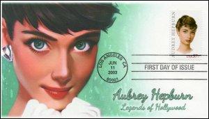 AO-3786, 1, 2003, Aubrey Hepburn, Add-on Cachet, First Day of Issue, SC 3786