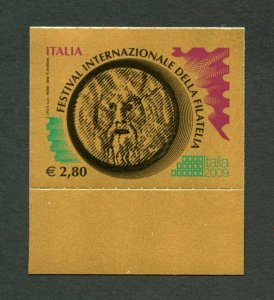 ITALY 2009 INTERNATIONAL STAMP FESTIVAL GOLD FOIL 2.80e STAMP  AS SHOWN MINT  NH