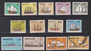 Singapore # 336-348, Ships, Used, 2 are unused, 1/2 Cat