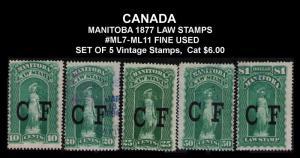 MANITOBA REVENUE TAX 1877 RARE #ML 7-ML 11 SET OF 5 VINTAGE LAW STAMPS CV $6
