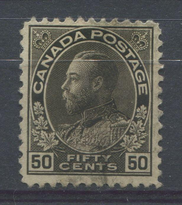 Canada #120ii 50c Brown Black 1911-27 Admiral Issue Wet Ptg Fine Mesh F-68 Used