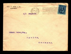 1905 Montreal Cover to Apolda Germany - L27816