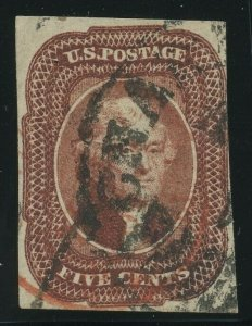 12, Used 5c VF WITH RED & BLK CANCELS Cat $1,100.00