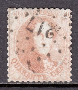 Belgium - Scott #16 - P12½ - Used - Pencil on reverse - SCV $25