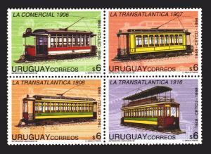 RAILWAYS STREET CARS TRAM TRAMWAY URUGUAY Sc #1725 MNH STAMP CV$8