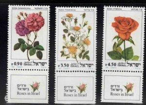 ISRAEL Scott 791-793 MNH** Rose Flower stamp set with tabs