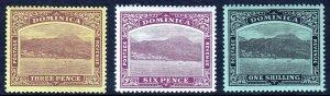 DOMINICA — SCOTT 40//44 (SG 51//53) — 1909-10 ROSEAU ISSUE — MH — SCV $15.75