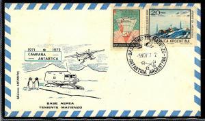 AANT-208 ARGENTINA 1971 ANTARCTIC ANTARCTICA MATIENZO STATION COVER POSTMARKS
