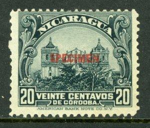 Nicaragua 1914 Cathedral 20¢ Slate Rotary Printing  Mint O389