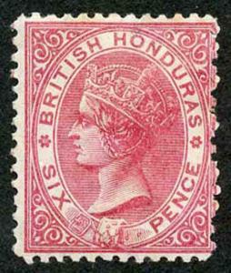British Honduras SG9a 6d Bright Rose Carmine Wmk crown CC Perf 12.5 MINT