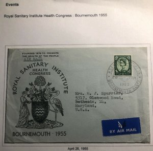 1955 Bournemouth England First Day Cover FDC Royal Sanitary Institute Health Con