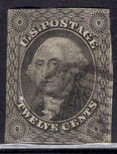 US Stamp Scott #17 12c Washington Used Repaired SCV $250