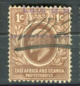 BRITISH KUT; Early 1900s Ed VII postal issue with fiscal cancel on 1c.