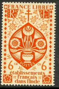 FRENCH INDIA 1942 6ca LOTUS FLOWER Issue Scott No. 146 MLH
