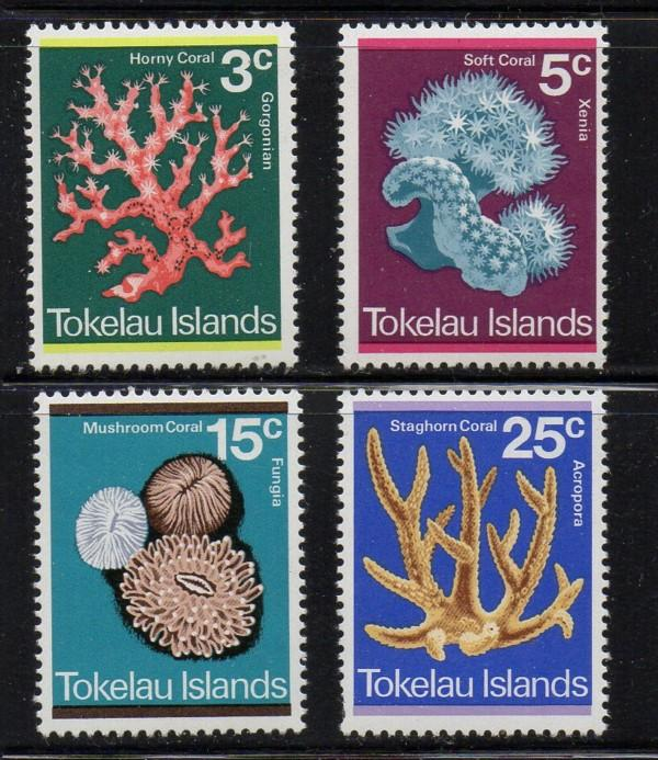 Tokelau Islands Sc 37-40 1973 Corals stamp set mint NH