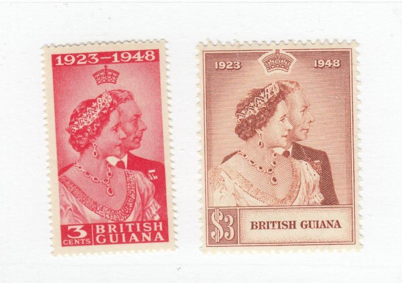 BRITISH GUIANA # 244-245 VF-MNH KGV1 1948 SILVER WEDDING ISSUE SUPERB
