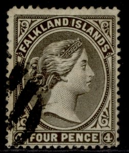 FALKLAND ISLANDS QV SG6, 4d grey-black, USED. Cat £95.