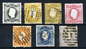 PORTUGAL 1867-70 King Luis Set (With Letters on Neck) SG 52 to SG 67 VFU/MNG