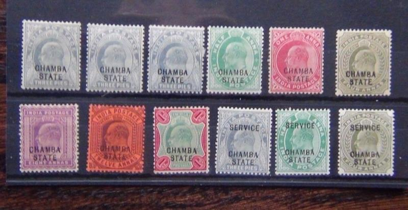 India States Chamba State 1903-05 values to 1r + service issues MM