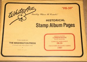 1987 Brand new White Ace pages for US Plate blocks. Supplement # PB39
