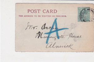 England 1902 R & G Brown Builders Amble Cancel Stamp Card to Alnwick Ref 34852