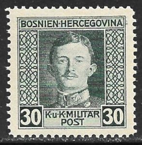 BOSNIA  AND HERZEGOVINIA 1917 30h Emperor Karl I Issue Sc 113 MNH