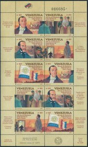 Venezuela 1565-1569a sheet,MNH.Mi 3085-3089 klb. Independence-200,1997.Ships