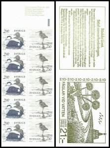 H365 Sweden 1986 Scott #1582-1583 water birds waterfowl duck MNH stamp booklet