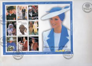 Turkmenistan 1997  Diana/Gandhi/M.Teresa/Pope John-Paul II Sheetlet FDC 32x23cm.