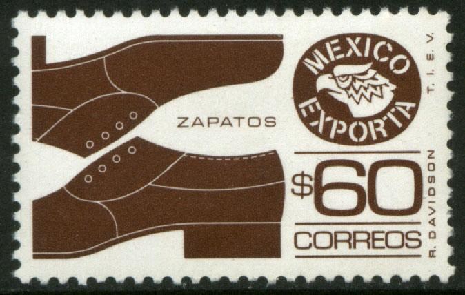MEXICO Exporta 1467 $60P Mens shoes Unwmk Fluor Paper 8 MNH
