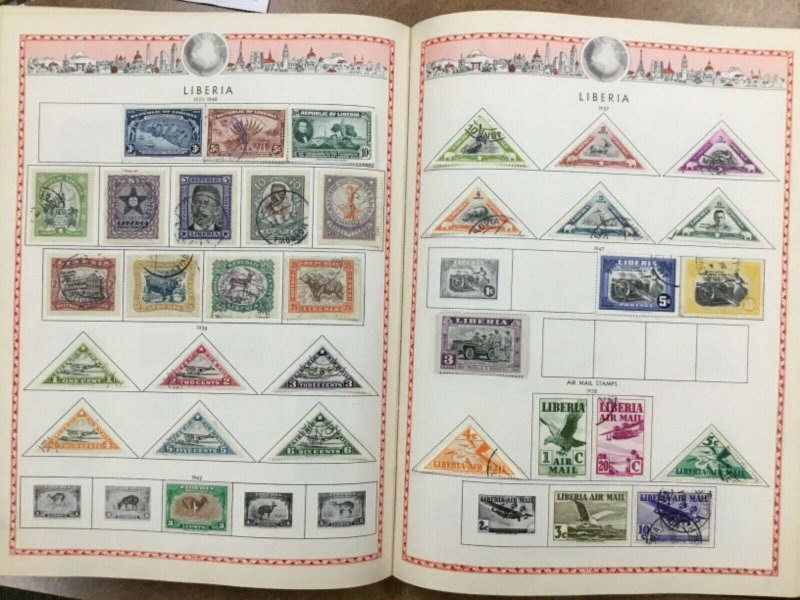 The Educator Postage  Stamp Album W/  hundreds of Stamps co.1951 good Maps