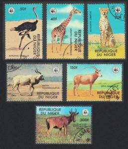 Niger Giraffe Cheetah Emu Bird WWF Endangered animals 6v SG#735-740 MI#633-638
