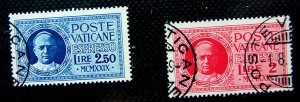 ♗VATICAN CITY 1929, Express Letter Stamps SG-E14 /15  used, cv= c£30,  #HS229
