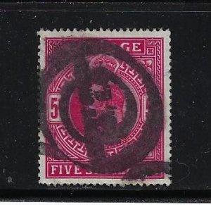 GREAT BRITAIN SCOTT #140A EDWARD VII 1902-11  5 SH (DEEP BRIGHT CARMINE)  - USED