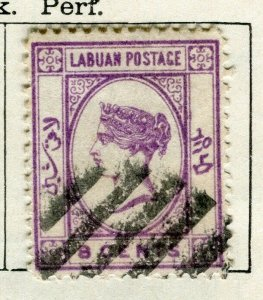 NORTH BORNEO LABUAN; 1892 early classic QV issue used 8c. value