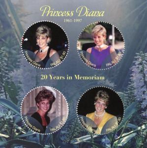 Palau 2017 MNH Princess Diana 20th Memorial Anniv 4v M/S I Royalty Stamps