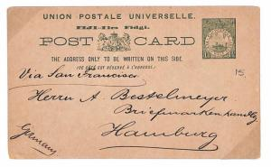 TT142 FIJI Postal Stationery 1902 UPU Card MARITIME Germany via San Francisco