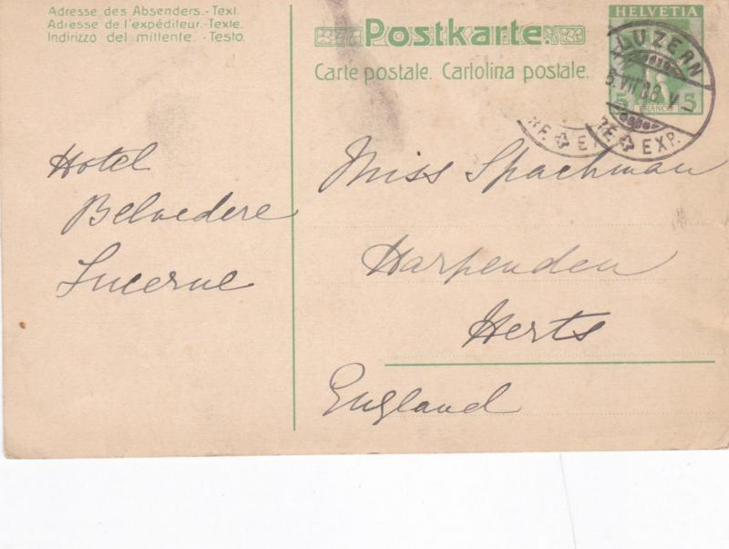 Switzerland 1908 Lucerne to England Postcard used VGC