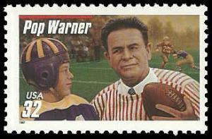 PCBstamps     US #3149 32c Glenn Pop Warner, extra red line, 1997, MNH, (9)